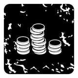 Coins icon, grunge style Stock Photography