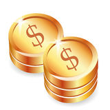 Coins icon. Icon of two supports of the coins with a dollar sign stock illustration
