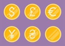 Coins Icons Set. Flat Vector Illustration. Dollar, Euro, Pound, Yen, Hryvna Royalty Free Stock Image