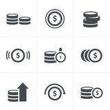 Coins Icons Set. Vector Design Stock Photography