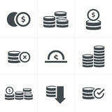 Coins Icons Set. Vector Design black color Royalty Free Stock Images