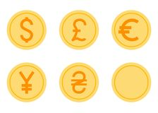 Coins Icons Set. Coins Vector Icons Set. Flat Vector Illustration - Dollar, Euro, Pound, Yen, Hryvna Stock Photos