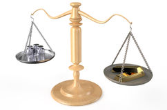 Coins and ignots on scales Stock Photography