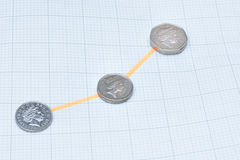 Coins increasing in line Stock Images