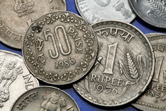 Coins of India. Indian one rupee and fifty paise coins Stock Images