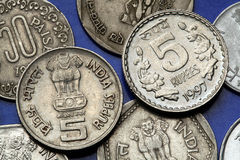 Coins of India. The Sarnath Lion Capital of Ashoka served as the state emblem of India depicted in the Indian five rupees coin Royalty Free Stock Image