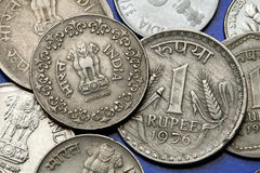 Coins of India. The Sarnath Lion Capital of Ashoka served as the state emblem of India depicted in the Indian one rupee coin Royalty Free Stock Images
