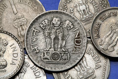 Coins of India. The Sarnath Lion Capital of Ashoka served as the state emblem of India depicted in the Indian one rupee coin Stock Photography