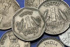 Coins of India. Two stalks of wheat depicted in the Indian one rupee coin