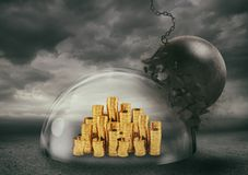 Coins safely inside a shield dome during a storm that protects them from a wrecking ball. Protection and safety concept. Coins inside a transparent sphere that vector illustration