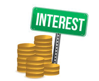 Coins and interest green sign illustration. Over white Stock Image
