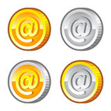 Coins with internet sign Royalty Free Stock Photography