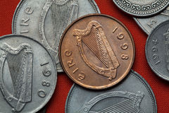 Coins of Ireland. Celtic harp. Depicted in the Irish pound coins Stock Photo