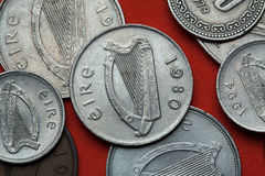 Coins of Ireland. Celtic harp. Depicted in the Irish pound coins Stock Image