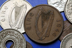 Coins of Ireland. Celtic harp depicted in the old Irish one penny coin (1946 Royalty Free Stock Images