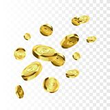 Coins isolated. Gold coins explosion vector illustration. Jackpot concept. Coins isolated on white background. Gold coins explosion vector illustration. Jackpot royalty free illustration