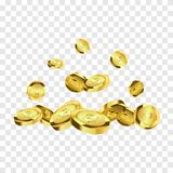 Coins isolated. Gold coins explosion vector illustration. Jackpot concept. Coins isolated on white background. Gold coins explosion vector illustration. Jackpot vector illustration