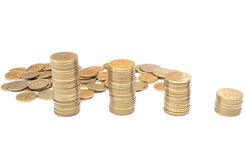 Coins isolated on white background Royalty Free Stock Photos