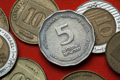 Coins of Israel. Israeli five new shekels coin Stock Photography