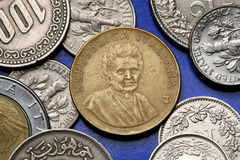 Coins of Italy. Italian physician and educator Maria Montessori depicted in the old Italian 200 lira coin royalty free stock photos