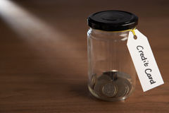 Coins in a jam jar Stock Photography