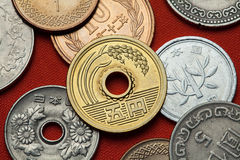 Coins of Japan. Ear of rice depicted in the Japanese five yen coin