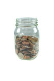 Coins in jar. Royalty Free Stock Photo
