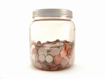 Coins in jar Stock Photo
