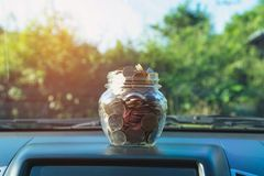 Coins in jar. Concept finance business, accounting and saving Royalty Free Stock Photography