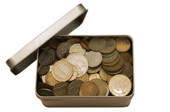 Coins in a jar. Iron coins lie in a tin Stock Photography