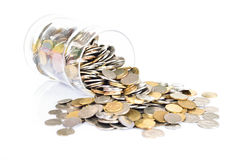Coins in the jar Royalty Free Stock Images
