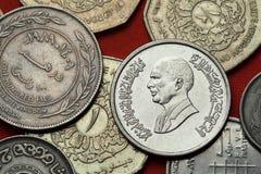 Coins of Jordan. King Hussein bin Talal Stock Photos
