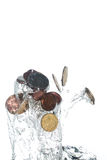 Coins jumping out of the water. Coins jumping out of the clear water Royalty Free Stock Photos