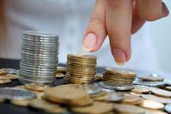 coins kolonnen Royaltyfri Foto