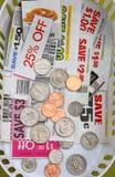 coins kuponger arkivfoton