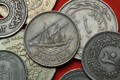 Coins of Kuwait. Kuwaiti sailing vessel Royalty Free Stock Images