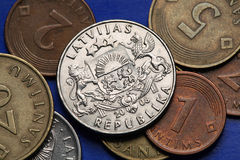 Coins of Kyrgyzstan. National emblem of Kyrgyzstan depicted in Kyrgyzstani som coins Stock Photography