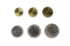Coins from Kyrgyzstan. On a white background Stock Image