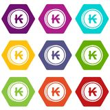Coins lao kip icon set color hexahedron Stock Photography