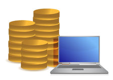 Coins and laptop illustration design Stock Photos