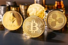 Coins of the largest cryptocurrencies Stock Photography