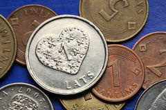 Coins of Latvia Stock Photos