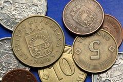 Coins of Latvia Stock Photos