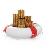 Coins with lifebuoy Stock Images