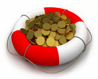 Coins in lifesaver. Concept of rescue of money. Coins in lifesaver Royalty Free Stock Photography