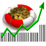 Coins in lifesaver and business chart Stock Image