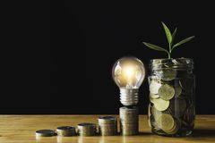 Coins and light bulb put on the table for saving money,energy concept in dark background.  stock images
