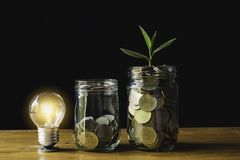 Coins and light bulb put on the table for saving money,energy concept in dark background.  stock photo