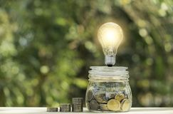 Coins and light bulb put on the table for saving money,energy concept on nature background.  royalty free stock image