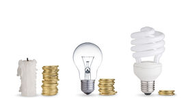 Coins light bulbs and candle royalty free stock photo